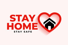 Stay Home Background With Hear...