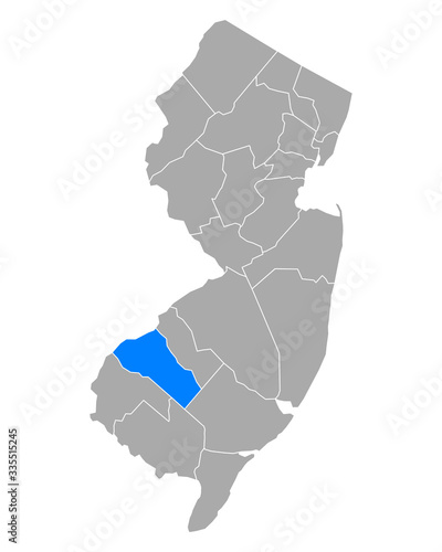 Fotografie, Obraz Karte von Gloucester in New Jersey