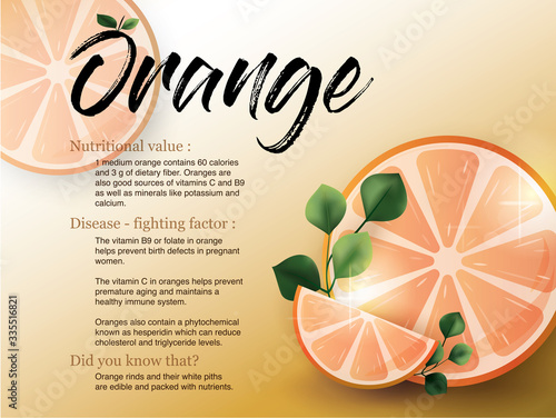 Photo orange and vitamin c benefits healthy for the skin is infographic information
