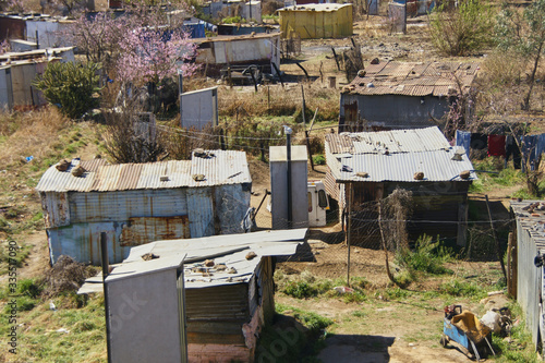 Tablou Canvas Slum wooden tin sheds huts Soweto Johannesburg South Africa