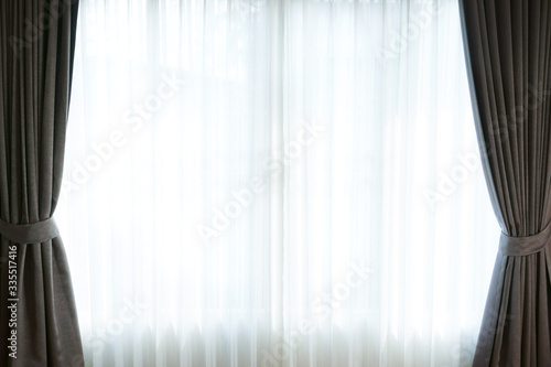 Fotomural Curtains window decoration interior of room,empty room with window and curtains