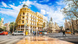 View of Valencia old town on Modernism Sqaure, Spain