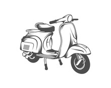 Italian Scooter From Italy Icon In Black Style Isolated On White Background. Italy Country Symbol Stock Vector Illustration.