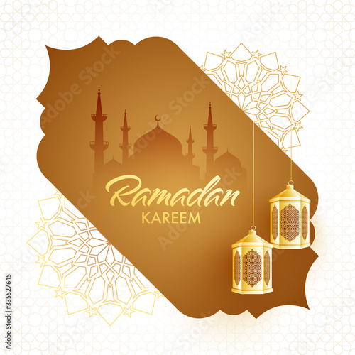 Photo Islamic Holy Month of Ramadan Kareem with  Arabic Traditional Lanterns and Mosque Silhouette on Golden Background and Mandala Pattern on White Background