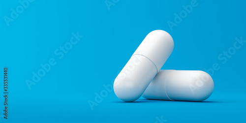Photo White capsule or painkillers with a pharmacy on a medical background