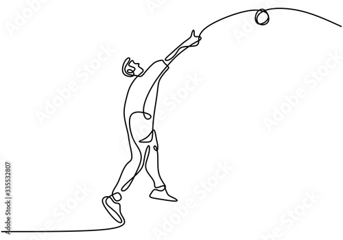 Continuous line drawing of athlete shot disc throwing sports, minimalism concept vector illustration Fotobehang