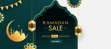 Islamic Holy Month Of Ramadan Sale Banner With Golden Crescent Moon And Mosque On Green Background.