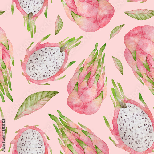 Watercolor seamless pattern with pink dragon fruit. Background with sliced and whole pitaya for covers, children textile, wrapping, summer decoration - 335533828