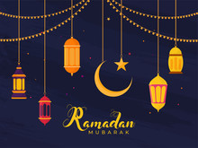Islamic Holy Month Of Ramadan Concept With Hanging Illuminating Lanterns, Moon, And Star On Blue Background.