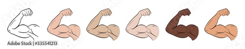 Fotografia, Obraz Biceps outline vector icon