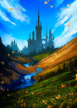 A Huge Castle In The Middle Of Colorful Hills With Golden Crops Of Wheat, Against The Background A Beautiful Sky With White Clouds, Leaves Are Flying In The Air. 2d Illustration