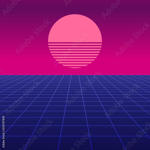 Synthwave retro design, Retro sun, vector illustration Wallpaper Mural