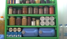 Food Stock Pantry For A Coronavirus Quarantine. Canned, Boxed, And Shelf-stable Items. Long-term Storage Products On Shelves In The Home Pantry