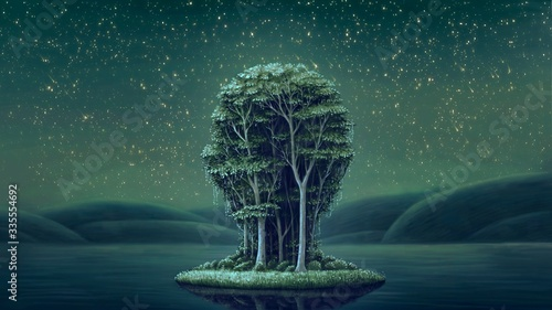 Foto Surreal island with night sky, painting artwork