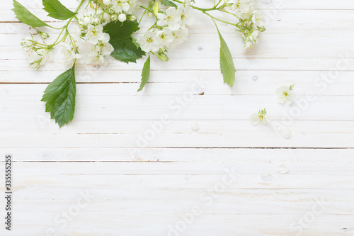 spring flowers on white wooden background Billede på lærred
