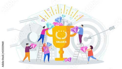 Fotomural Business values concept. Company values shared by staff.