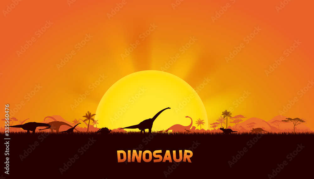 Dinosaurs in prehistoric scene. vector of dinosaurs background.