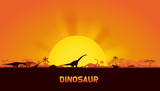 Dinosaurs in prehistoric scene. vector of dinosaurs background.