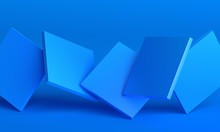 Abstract 3d Render, Background Design With Blue Squares