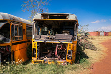 Destroyed Buses On The Tank Gr...