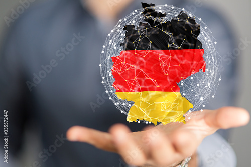 Fotomural Abstract of germany map network, internet and global connection concept, Wire Fr