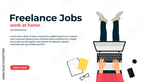 Obraz Freelancer working at home on laptop. Work at home, freelance jobs and vacancies concept. Freelancer character sitting with laptop at the comfortable workplace, top view - fototapety do salonu