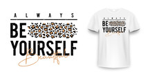 T-shirt Design With Leopard Pr...