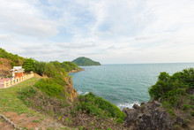 Beautiful View Point Of Tropical Sea And Island With Mountain Cliff And Rocks In Noen Nangphaya View Point At Chalerm Burapha Chonlathit Highway, Chanthaburi, Thailand.