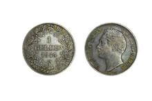 Germany Wurttemberg Silver Coin 1 Gulden 1845, Head Of William I, Denomination And Date Within Oak Wreath