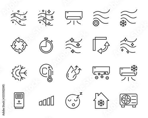 Photo set of air condition icons, air, purify, cool, temperature
