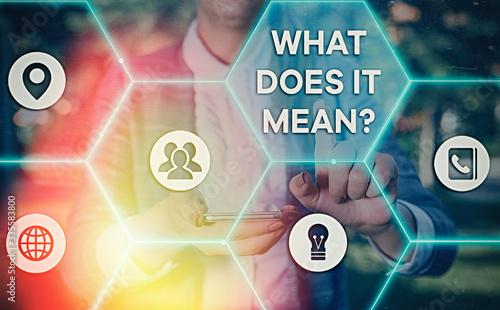 Word writing text What Does It Mean question Tapéta, Fotótapéta