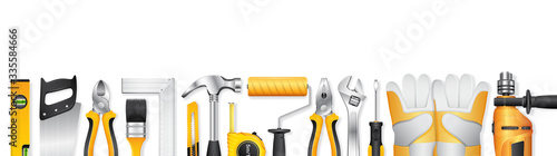 Cuadros en Lienzo construction concept set all of tools supplies for home construction builder on