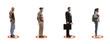 Leinwandbild Motiv Social distance between people waiting in line and standing inside circles