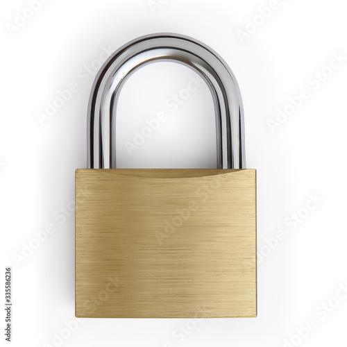 padlock isolated on white background, lockdown concept Poster Mural XXL