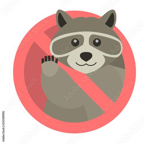 Photo 立入禁止・駆除されたアライグマ(たぬき)のイラスト素材