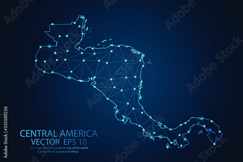 Stampa su Tela Abstract mash line and point scales on dark background with map of Central america