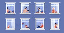 Neighbors In Apartment. People In Windows Drinking Tea, Watching TV, Pet Cat And Spending Time At Home. Vector Cartoon Illustration Persons In House, Illustrations Isolated Characters