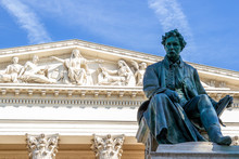 Janos Arany Statue In Front Of The Hungarian National Museum In Budapest, Hungary.