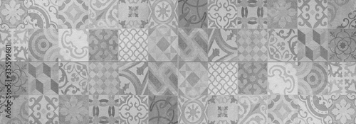 Fototapety szare  gray-white-bright-vintage-retro-geometric-square-mosaic-motif-cement-tiles-texture-background