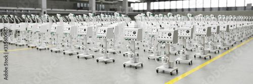 Fototapeta Lots of new ventilators and respirators in the warehouse of a coronavirus epidemic factory (3D Rendering) obraz