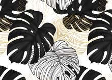 Monstera Black Leaves, Gold Line Art, Botanical Nature Leaf Dark Decorative Background. Modern Foliage Wild Decoration Pattern In Vector