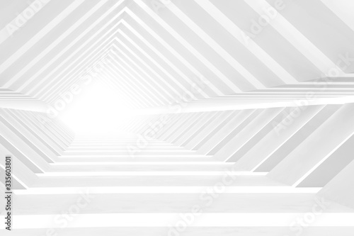 Photo Abstract empty white tunnel perspective, digital graphic