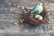 Easter Background. Nest With E...