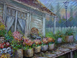Oil Painting  flowers in the garden from  Thailand