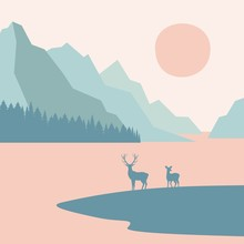 Landscape, Deers On A Backgrou...