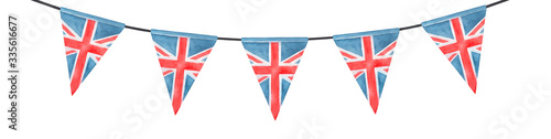Fotografie, Obraz Watercolor illustration of festive British bunting with Union Jack triangular flag