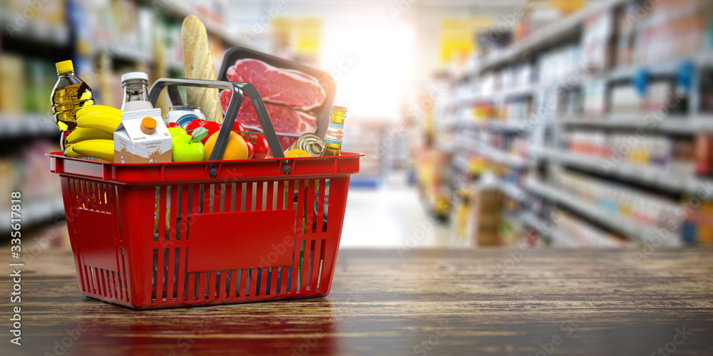 Fototapeta Shopping basket with fresh food. Grocery supermarket, food and eats online buying and delivery concept.