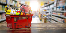 Shopping Basket With Fresh Food. Grocery Supermarket, Food And Eats Online Buying And Delivery Concept.