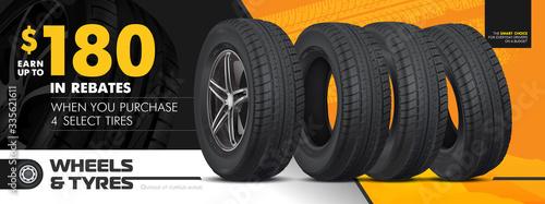 Papel de parede Tires car advertisement poster