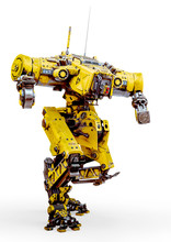 Yellow Combat Mech In Action In A White Background
